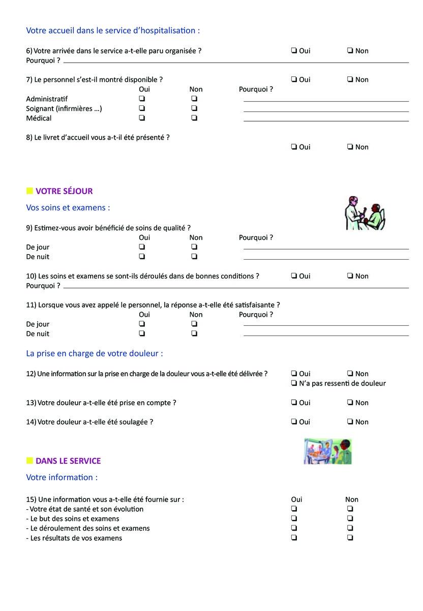 Extrêmement Questionnaire de sortie DM72